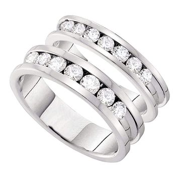 14kt White Gold His & Hers Round Diamond Matching Bridal Wedding Band Set 1-1/2 Cttw - FREE Shipping (US/CAN)