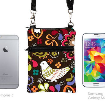 iPhone Crossbody, iPhone Travel Bag, Samsung S Pouch, Cell Phone Purse, Small Passport Cross Body W/Strap - colorful floral bird