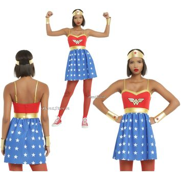 Licensed cool Wonder Woman DC  LOGO Wings Fit Flare Strap Dress Cosplay Costume JR S-XL