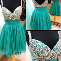 Chiffon Spaghetti Knee-length Beading Homecoming Dress