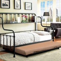 2 pc Carlow collection black finish metal frame day bed with upper shelf and trundle