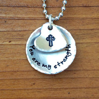 You are my strength - Hand Stamped Domed Necklace with a cross stamp