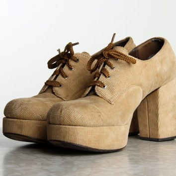 Corduroy Platform Shoes 1970s Footwear