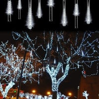 20CM 80L Meteor Shower Rain Tube String Lights Christmas Decoration White  7_S = 1916824644