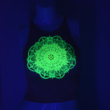 Nude Fitted Crop Top - Glow in the Dark Double Mandala Design - Sacred Geometry - Psychedelic Yoga Wear