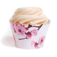 Sakura Cherry Blossom Cupcake Wrappers™ (12 Wrappers) BEST SELLER! [DMC5111 Cherry Blossom Wrappers] : Wholesale Wedding Supplies, Discount Wedding Favors, Party Favors, and Bulk Event Supplies