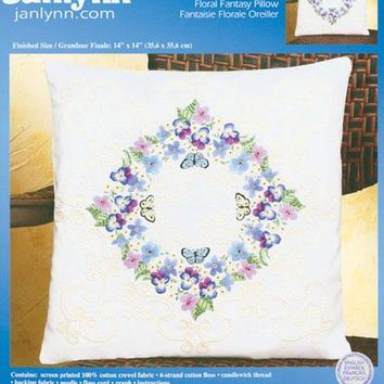 "Floral Fantasy-Stitched In Thread Janlynn Candlewicking Embroidery Kit 14""X14"""