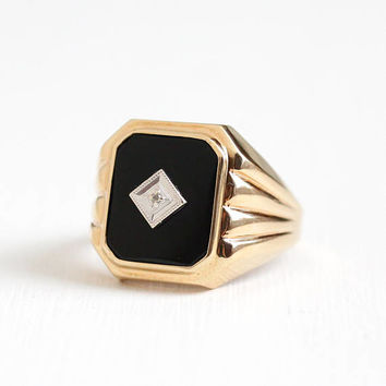 Vintage 10k Rosy Yellow Gold Diamond & Onyx Ring - Mid Century 1940s Size 10 1/4 Black Gemstone Fine Men's or Women's Statement PSCO Jewelry