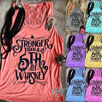 Letter Printed  Tank Top Cowgirl  Lace Back