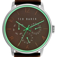 Men's Ted Baker London Multifunction Leather Strap Watch, 42mm