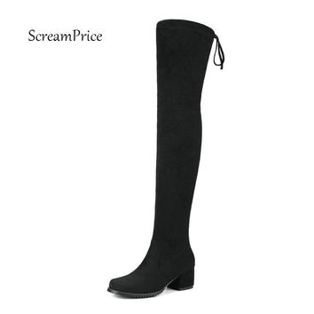 Square Toe Shoes Woman Micro Suede Thigh High Boots for Women Mid Heel Comfy Slouch Stretch Over the Knee Boots Black Gray Wine