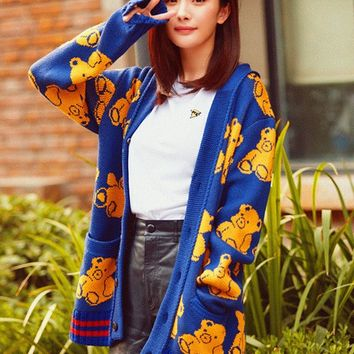 New Women Ladies  Knitted Bear Sweaters Long Sleeve Cardigan Sweater Loose Fitting Female Ponchos Coat 2017 Autumn Winter