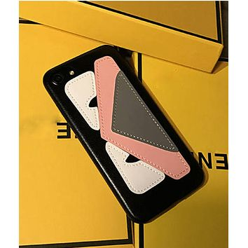 iPhone6lv7plus mobile phone shell couple demon little monster iphone 6splus leather soft shell Fendi