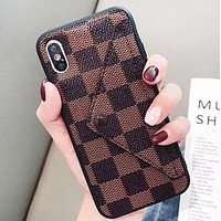 LV & GUCCI  Fashion New More Letter Tartan Women Men Leather Phone Case Protective Cover