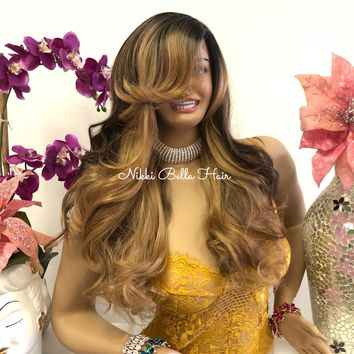 "Brown Blonde Brunette Balayage Ombré Swiss Long Lace Front Wig | 22"" Dalia 818 22"