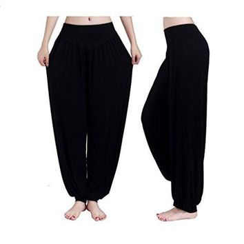Bettertime Fashion Women's Slimming Sports Pants Dance Pants Yoga Pants,Black,L