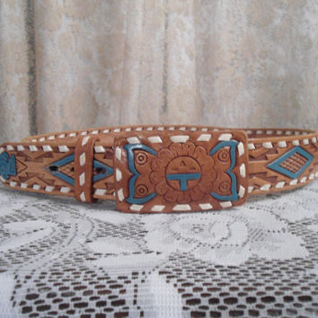 Small/Medium Genuine Brown Leather Hand Laced Chambers Crafted Belt Mexican Style Southwest Leather Belt Boho Leather Belt Hippie Vintage