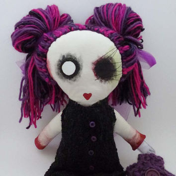 Zombie Doll Girl - Creepy Cute - Strange Plush - Low Brow Style Plushie - Stuffed Zombie Toy