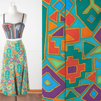 1980s Tribal Print Skirt / Vintage 80s Skirt / High Waisted Midi Skirt / Native American Inspired / Southwestern Print Festival Skirt