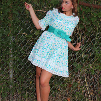 70s Mini Dress Country Floral Square Dancing Medium M Vintage 1970s Turquoise Full Skirt