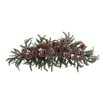 Artificial Flowers -28 Inch Iced Pine Cone Swag Artificial Plant