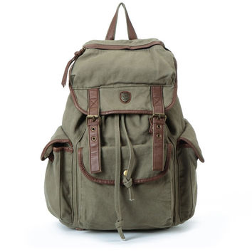 "14"" Laptop Backpack Bag Big Leisure Leather Canvas Backpack Leather School Bag Shoulder IPAD Bag"