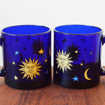 Set of 2 Libbey Cobalt Blue Celestial Glass Mugs - Coffee - Sun, Moon and Stars Designs Barware
