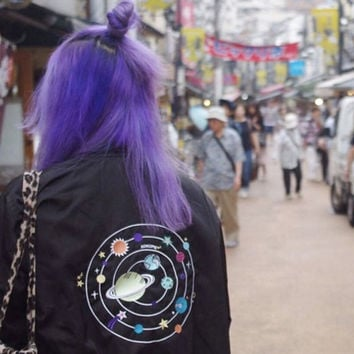 Alien outer space bomber jacket
