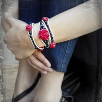 Valentines Day Red Rose & Skull Wrap Bracelet (For Smaller Wrists) Day of The Dead