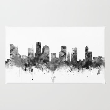 Houston Skyline Black and White Rug by monnprint