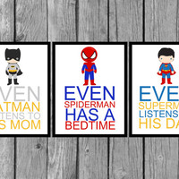 "Superhero wall art/Boys bedroom decor/Set of 3/ 8""x10"" Prints"