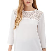 FOREVER 21 Lace Paneled Chiffon Blouse White