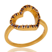 Tanzanite 18K Gold Plated Sterling Silver Heart Shape Ring Love Ring