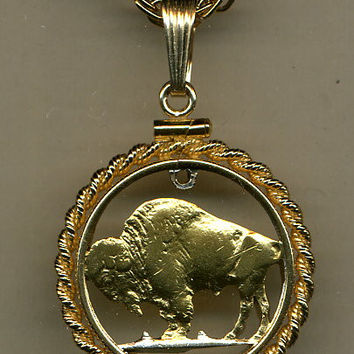 Stunning U.S Buffalo head nickel - GOLD & SILVER coin cut outs  IN Gold Filled Bezels
