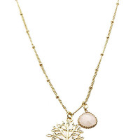 Adorn by Lulu- Gold Tree Necklace in Frosted Pink