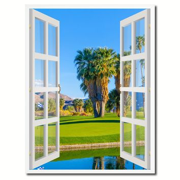 Palm Springs California Golf Course Picture French Window Canvas Print with Frame Gifts Home Decor Wall Art Collection
