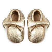 Mothers Love Light Gold Bow Leather Moccasin Booties | zulily