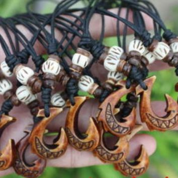 Maori Resin Fishhook Coconut Shell Bone Beads Cotton Necklace