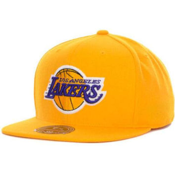 91fe6dce9ac Los Angeles Lakers fitted hat Mitchell   Ness new with stickers NBA LA