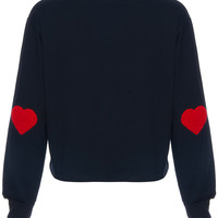 ROMWE | Heart-shaped Embroidered Black Sweatshirt, The Latest Street Fashion