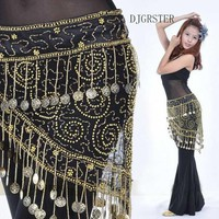 Rayon Belly dance scarfs with coins in 2 colors. Each features 158 gold coins.