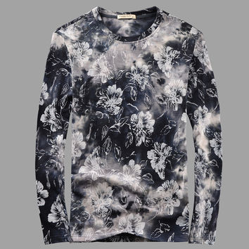 Winter Floral Round-neck Pullover Long Sleeve Couple T-shirts [6542276163]
