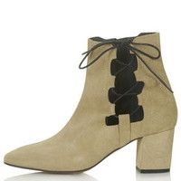 MADRID Ghillie Side Tie Boots - Taupe