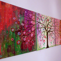 X-  large original painting landscape Modern contemporary  painting Folk Tree & birds  72x24
