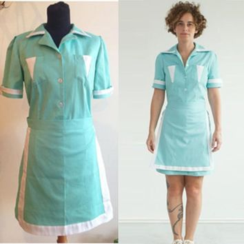 Twin Peaks inspired Double R Diner Waitress Uniform Cosplay Dress
