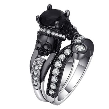 Skull Ring Set Punk Style Fashion Jewelry Charm Black Round Cubic Zirconia