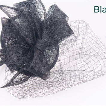 Elegant sinamay fascinator headwear sinamay base with birdcage veils cocktail hats bridal hair accessories party hats 16 colors