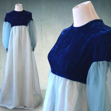 1960s Regency Style Empire Gown Blue Velvet and Chiffon Lorrie Deb Union Made