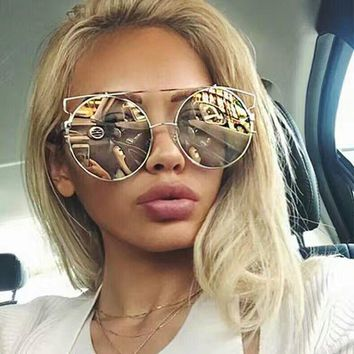 2017 Popular Mirror Sunglasses Brand Women Double Wire Oversized Sun glasses Big  Metal  Round Bohemian Vintage Rose Gold
