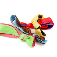 Double Ponytail Holders (4) Double Hair Ties - School Colors Hair Ties - Knotted Hair Ties - Choose Your Colors - Cute Teen Girl's Gift idea